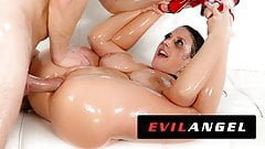 EvilAngel - Angela White Fills Ass With Oil & Dick