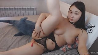 Asian Cutie Demonstrating Doggy Style - Cam Girl