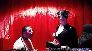 French Mistress with human ashtray slave on Vends-ta-culotte