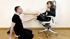 Cruel Girl - Foot Gagging Roughly Dominates a Chained Slave
