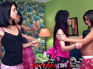 Sleepover video porn 3-way porn - mom teaches sex at sleepover party