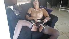 Christina layerd stockings and cum