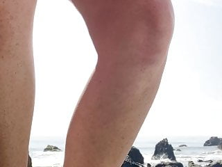 Brunet pees bikini Peeing on public beach