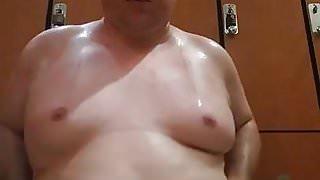 Masturbating in the Gym Locker Room - Gay Chub Cub Boy Jacob