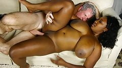 Beautiful big tits black bbw banged and blasted with cum
