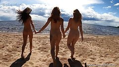 Nude girls on a public beach