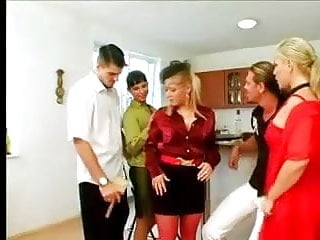 Gay fivesome - Satin blouse fivesome