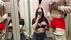 Blowjob from redhead girl in a fitting room. KleoModel