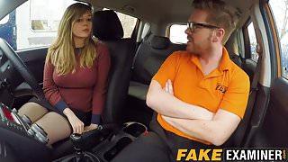 Curvy UK skank Madison Stuart banged at driving school car