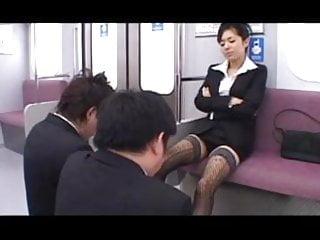 Asian subway sex Subway train footjob