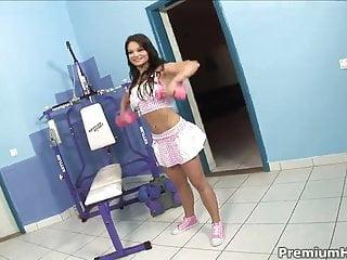 Sex in gym video - Horny slut enjoys dp in gym