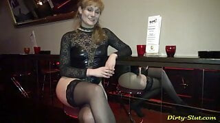 The cum queen returns to the club and gets used by 20 guys.