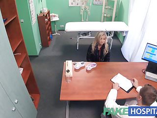 The dicks in porn are fake Fake hospital petite blonde deepthroats a thick dick
