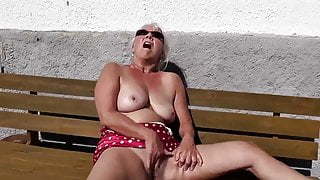 60 year old granny masturbates on a bench