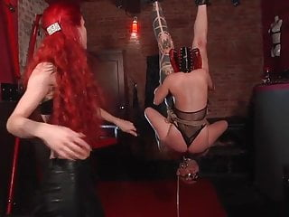 Black rope suspension bdsm - Two slave suspension