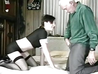 Cum eating his own - Old and young he licks his own cum off her