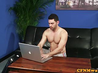 Jerking their cocks - Cfnm femdoms jerking their sub in group