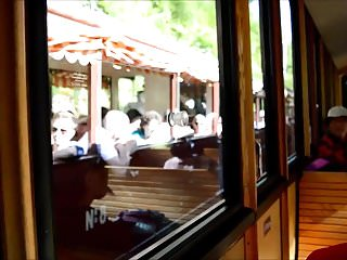 Xxx wooden pony Girlfriend travling and flashing in wooden train public