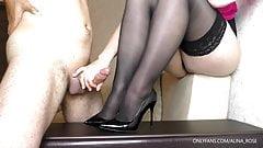 Stepsis Femdom handjob on her shoes