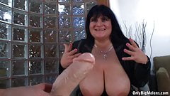 Cecille Black Plays With Huge Boobs And Dildo