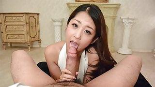 Japanese gal Satomi Suzuki is rubbing dick, uncensored