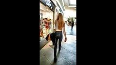 Candid teen in shiny leggings