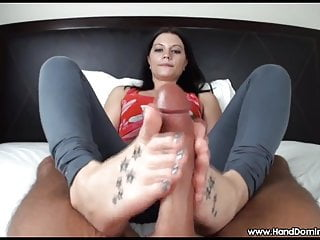 Fetish handjobs - Teen hands and feet work over a big cock