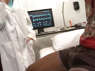 Fetish doctor inserts tool in ass - Black hunk has hot white doctor babe riding his tool