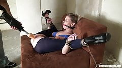 Ally bound 3 ways vibed and machine-fucked