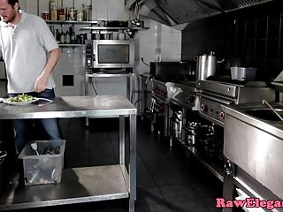 Christine flavor restaurant babe naked - Euro babe anally creamed in restaurant kitchen