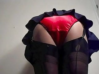 Gymslip sex Red satin knickers and gymslip