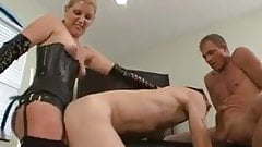 She strapons him while he sucks a dick bi-sexmonkey 3