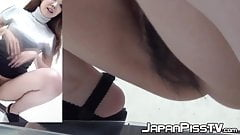 Japanese cuties take their panties off to pee