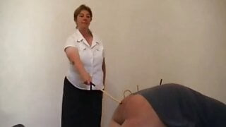 Mature Woman Canes Man