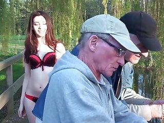 Fish oil vagina Two oldmen fuck beautiful girl while fishing