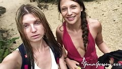 Gina Gerson and Talia Mint sexy vacation time