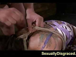 Girls gagging from dick - Gagging lola love gets rammed from behind while rope tied