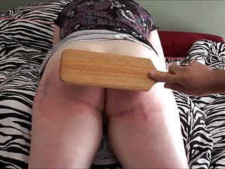 Fetish paddles - Ass paddled and caned red