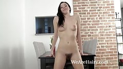 The sexy Anissa strips naked on her table
