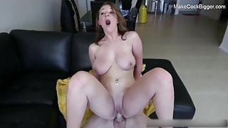 Horny naturally busty slut gets a good fuck with a big cock