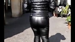 MILF walking in tight leather pants MIX