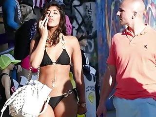 Bikinis on street Bikini down the street