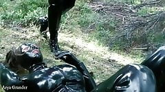 FaceSitting Humiliation, Arya Grander and Latex rubber Doll