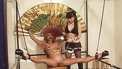 Elegant Japanese mistress punishes her slavegirl