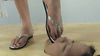 Face in the floor - foot worship and face trampling