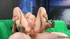 Cumshots bukkakes and dp on dirty brunette slut
