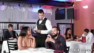 Public restroom sex with a cheating wife and the waiter