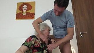 Masturbating granny Norma did not notice how nephew brou