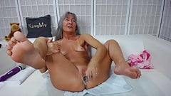 Horny old squirter Leilani with small cherries and tan lines