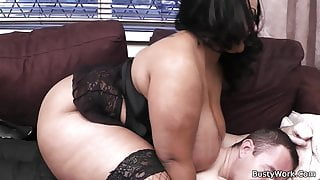 Huge boobs plumper rides his white cock